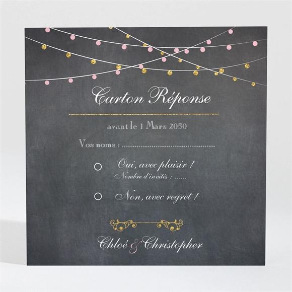 Carton réponse mariage Ardoise élégante et étiquettes réf.N300876