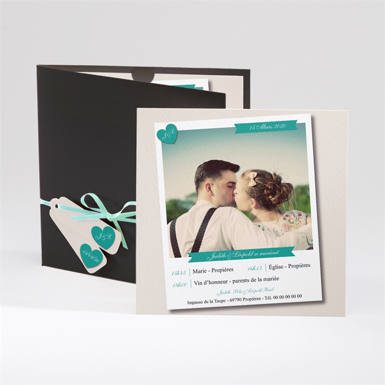Faire-part mariage Photo et vert pastel réf.N91003
