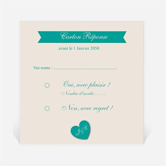 Carton réponse mariage Photo et vert pastel réf.N300883