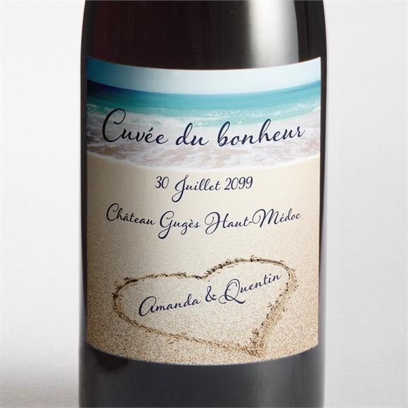 Etiquette de bouteille mariage Rêve de plage réf.N300887