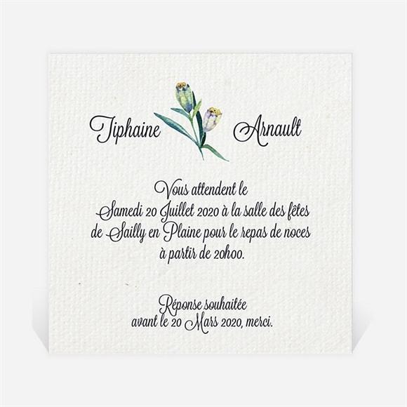 Carton d'invitation mariage Univers végétal et papillons réf.N300891