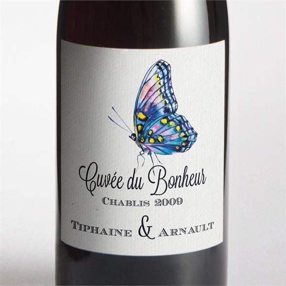 Etiquette de bouteille mariage Univers végétal et papillons réf.N300893