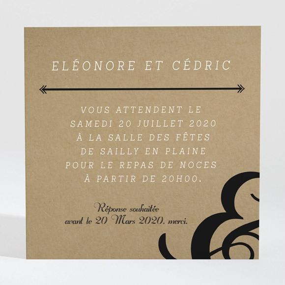 Carton d'invitation mariage Black chic réf.N300894