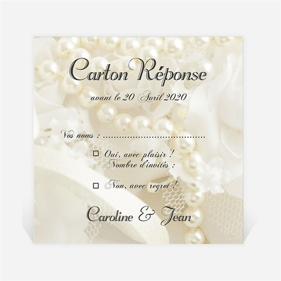 Carton réponse mariage Organza réf.N300907