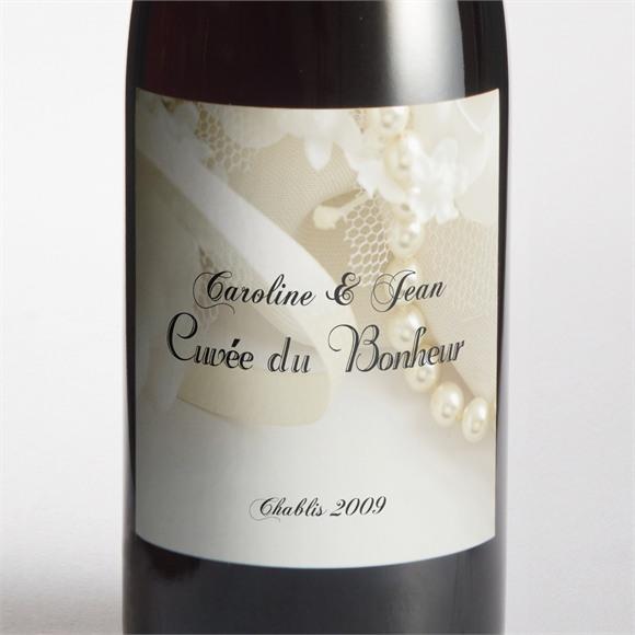 Etiquette de bouteille mariage Organza réf.N300908