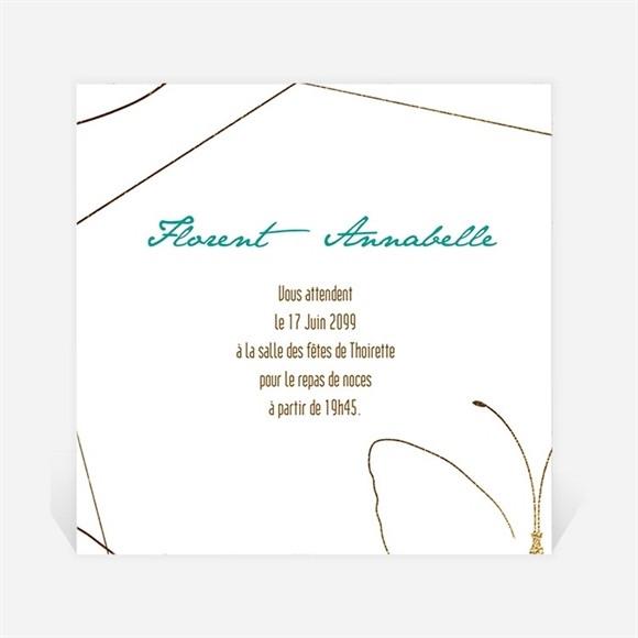 Carton d'invitation mariage Papillon photo original réf.N300911