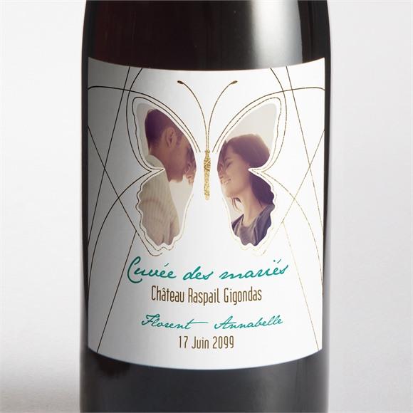 Etiquette de bouteille mariage Papillon photo original réf.N300913