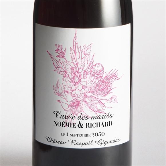 Etiquette de bouteille mariage Champêtre rose original réf.N300902