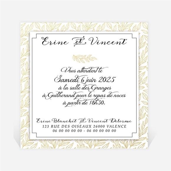 Carton d'invitation mariage Elégance dorée et prestige réf.N300923