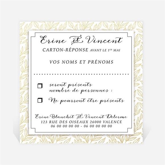 Carton réponse mariage Elégance dorée et prestige réf.N300924