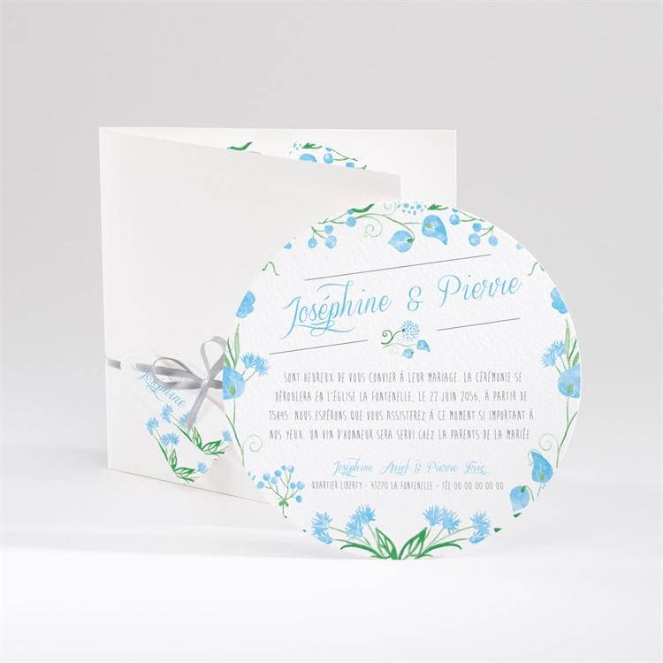Faire-part mariage Fleurs bleues et vertes réf.N90004