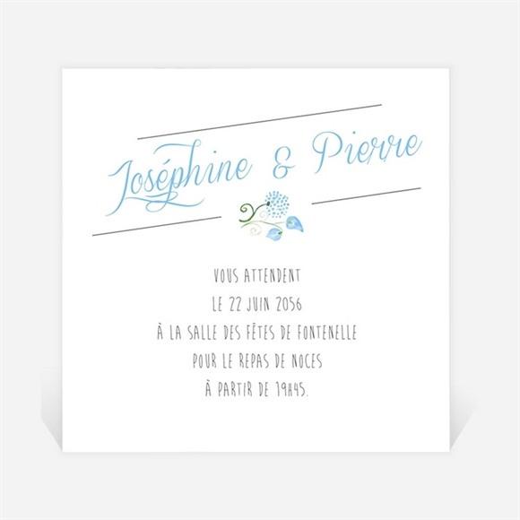 Carton d'invitation mariage Fleurs bleues et vertes réf.N300926