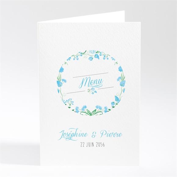 Menu mariage Fleurs bleues et vertes réf.N401627