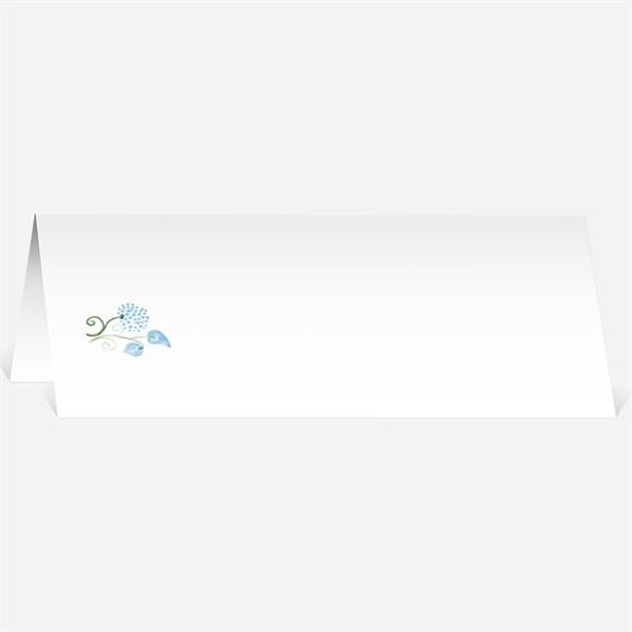 Marque-place mariage Fleurs bleues et vertes réf.N440509