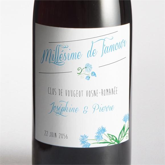 Etiquette de bouteille mariage Fleurs bleues et vertes réf.N300928