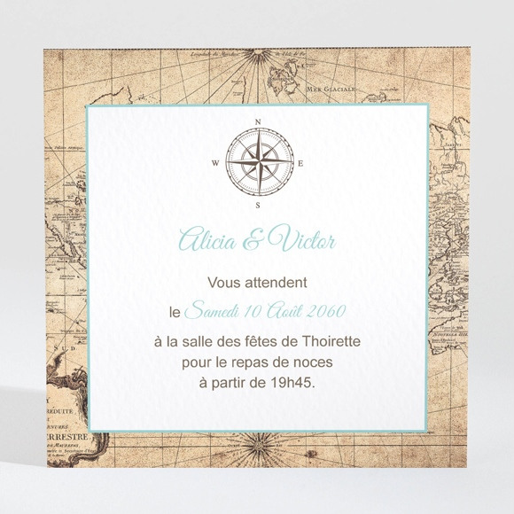 Carton d'invitation mariage Carte du Monde réf.N300929