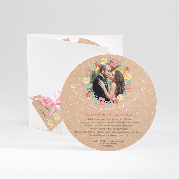 Faire-part mariage Jolis pois et fleurs réf.N90005