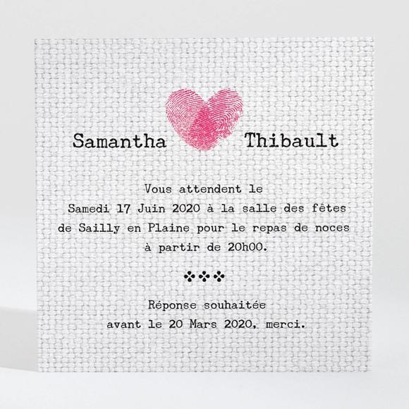 Carton d'invitation mariage Nos empreintes en coeur réf.N300944