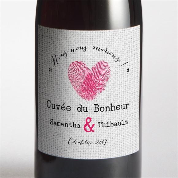 Etiquette de bouteille mariage Nos empreintes en coeur réf.N300946