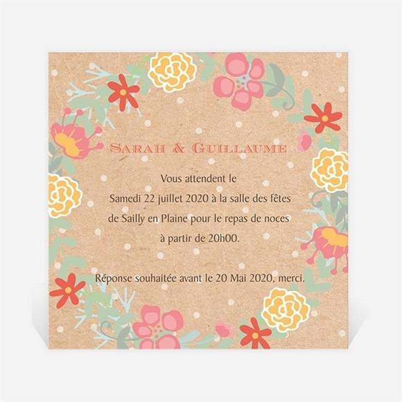 Carton d'invitation mariage Jolis pois et fleurs réf.N300941