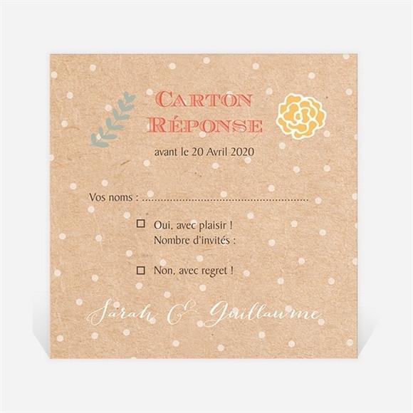 Carton réponse mariage Jolis pois et fleurs réf.N300942