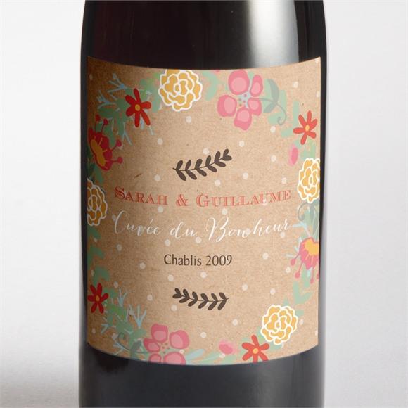Etiquette de bouteille mariage Jolis pois et fleurs réf.N300943