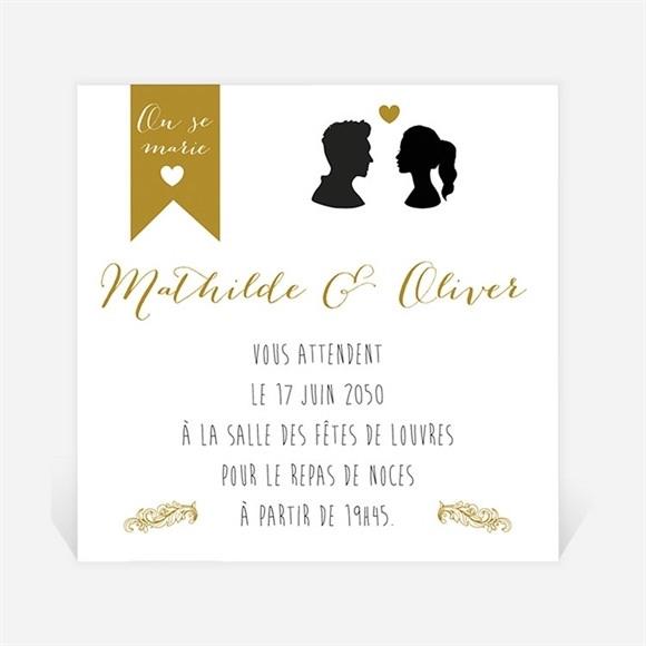 Carton d'invitation mariage Profils élégants réf.N300950