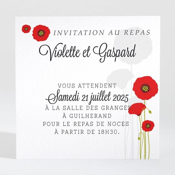 Carton d'invitation mariage Joli coquelicot réf.N300971