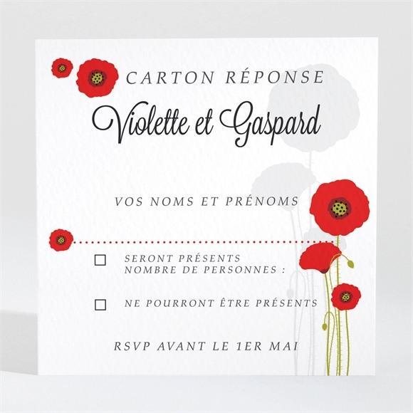 Carton réponse mariage Joli coquelicot réf.N300972