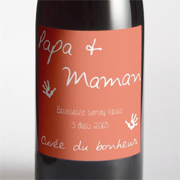 Etiquette de bouteille mariage Papa + Maman réf.N300970