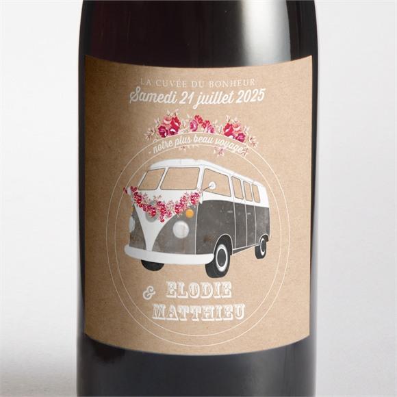 Etiquette de bouteille mariage A l'aventure ! réf.N300976