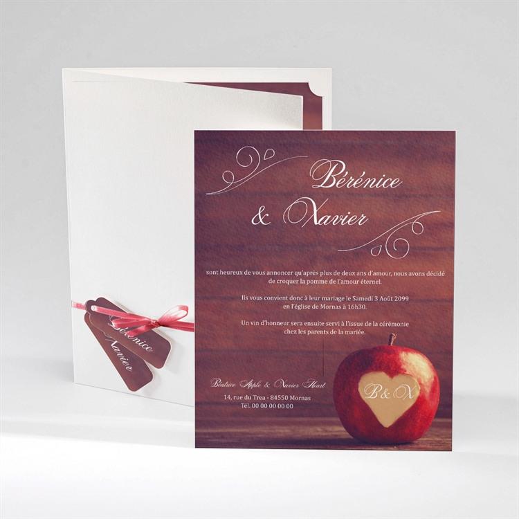 Faire-part mariage La pomme de l'amour éternel... réf.N92022