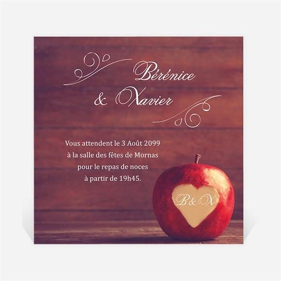 Carton d'invitation mariage La pomme de l'amour éternel... réf.N300986