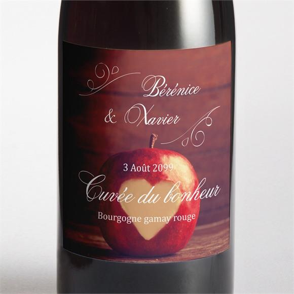 Etiquette de bouteille mariage La pomme de l'amour éternel... réf.N300988
