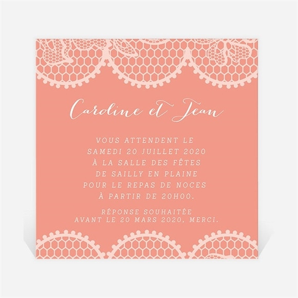 Carton d'invitation mariage Corail original réf.N300992