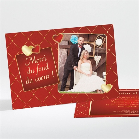 Remerciement mariage Romantique et festif réf.N111118