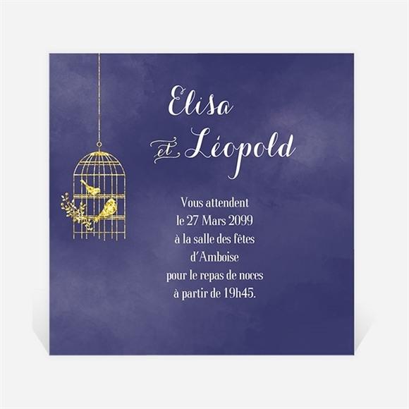 Carton d'invitation mariage Bleu nuit réf.N300998