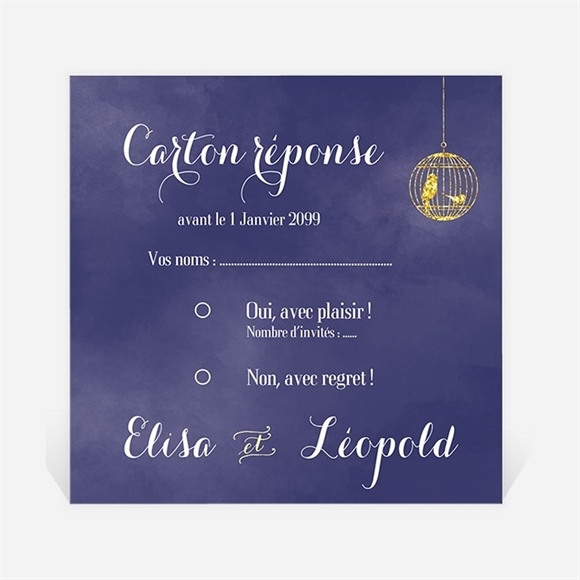 Carton réponse mariage Bleu nuit réf.N300999