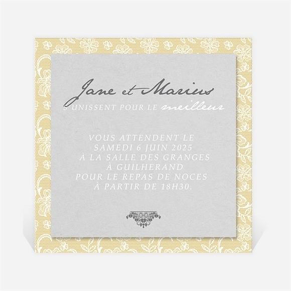 Carton d'invitation mariage Jaune et blanc réf.N3001013
