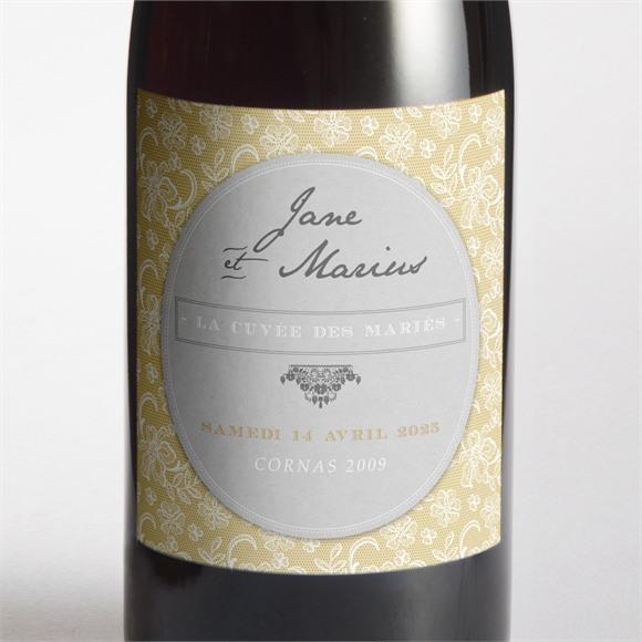 Etiquette de bouteille mariage Jaune et blanc réf.N3001015