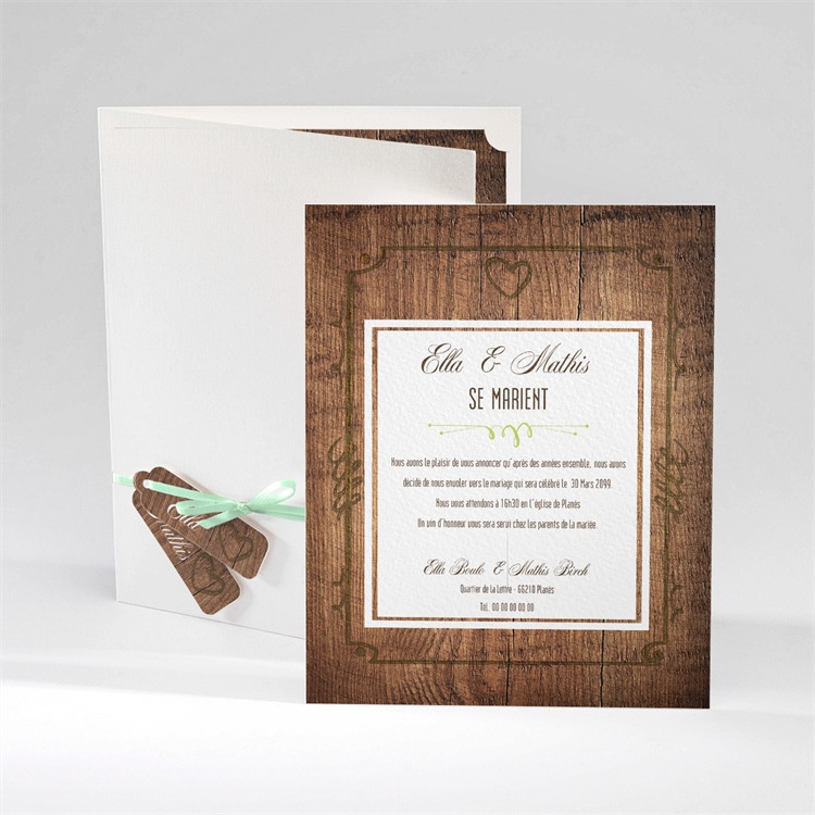 Faire-part mariage Boisé rustique chic réf.N92024