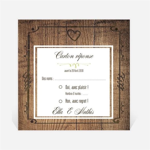 Carton réponse mariage Boisé rustique chic réf.N300996