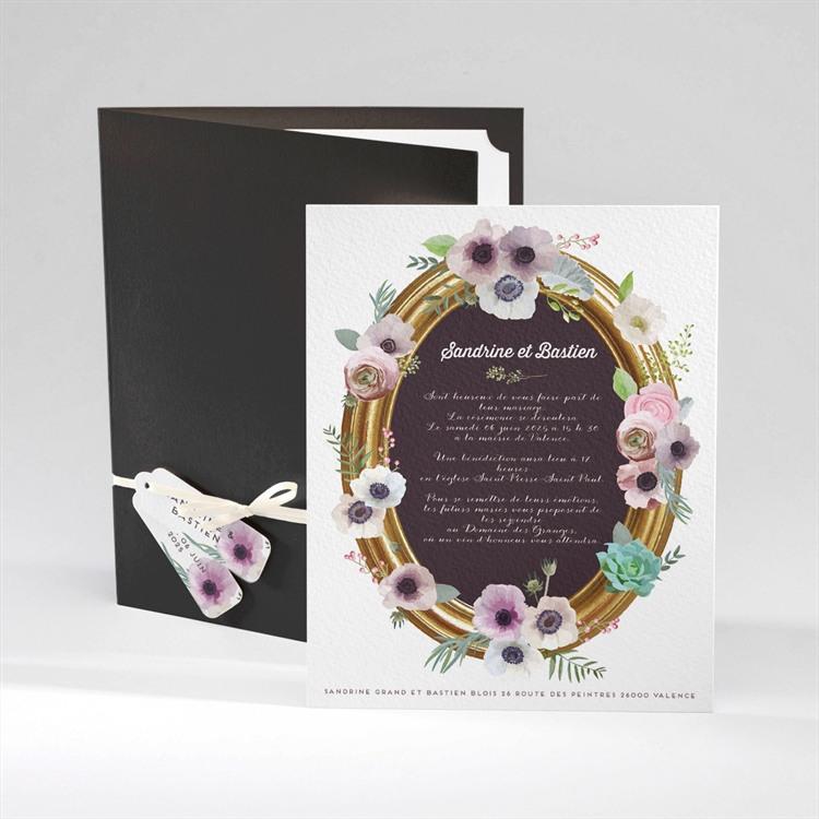 Faire-part mariage Couronne fleurs violettes réf.N92029