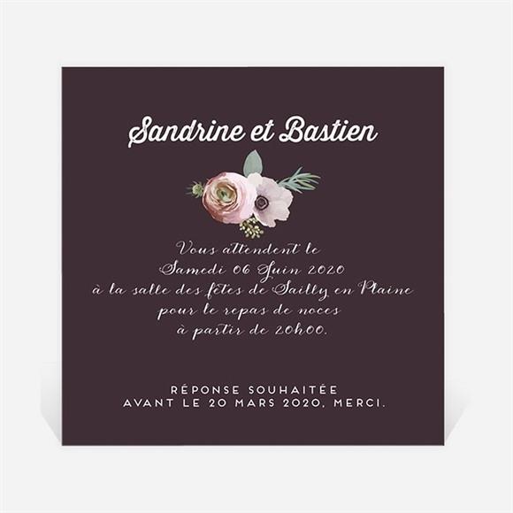 Carton d'invitation mariage Couronne fleurs violettes réf.N3001022