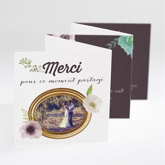 Remerciement mariage Couronne fleurs violettes réf.N800105
