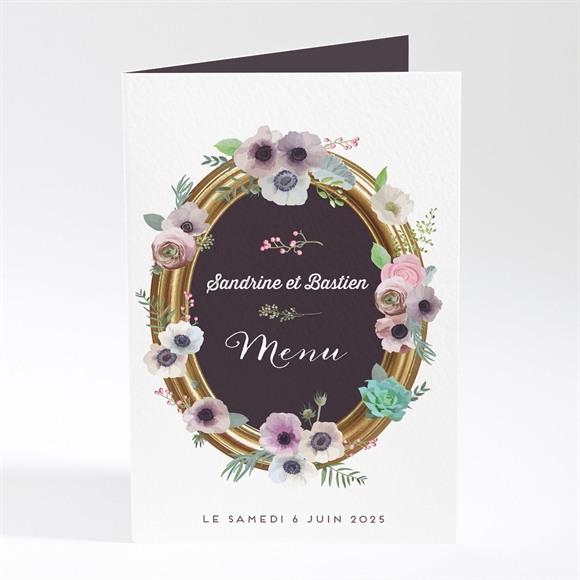 Menu mariage Couronne fleurs violettes réf.N401659