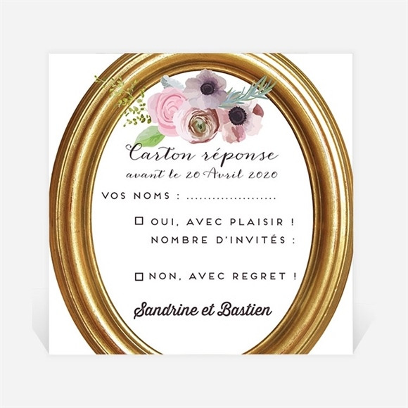 Carton réponse mariage Couronne fleurs violettes réf.N3001023