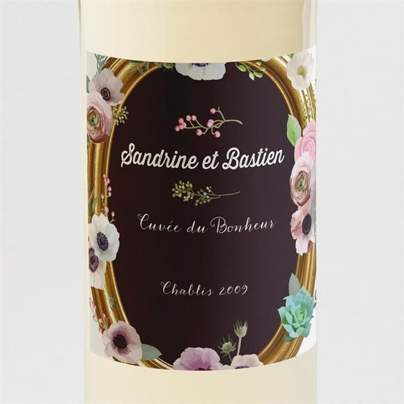 Etiquette de bouteille mariage Couronne fleurs violettes réf.N3001024