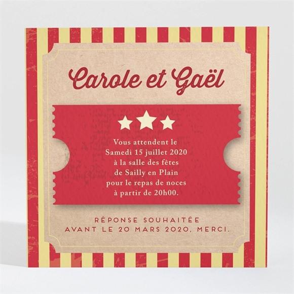 Carton d'invitation mariage Le Cirque réf.N3001028