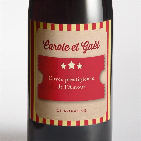 Etiquette de bouteille mariage Le Cirque réf.N3001030